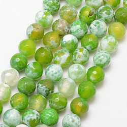 Natural Fire Agate Bead Strands, Round, Grade A, Faceted, Dyed & Heated, GreenYellow, 10mm, Hole: 1mm; about 37pcs/strand, 15inches