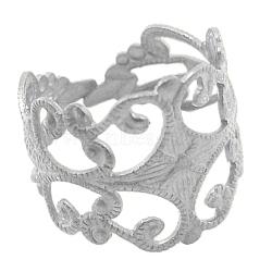 Composants d'anneau ajustable en laiton, filigrane ébauche de bague, sans plomb et sans cadmium, de couleur métal argent, taille:  Largeur environ 16mm, 19 mm de diamètre intérieur (X-KK-7/E1-S)