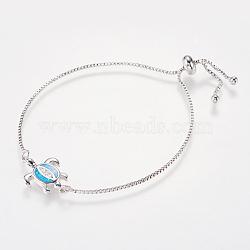 """Bracelets bolo réglables en laiton, Bracelets coulissants, Avec de l'opale synthétique et de la zircone cubique, chaînes de boîte, tortue de mer, bleu, 9.1"""" (23 cm) ~ 10"""" (25.5 cm); 1mm(BJEW-I240-01P-02)"""
