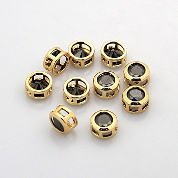 Real 18K Gold Plated Brass Rhinestone Beads, Flat Round, Nickel Free, Hematite, 7x4mm, Hole: 2x2mm(KK-J198-29G)