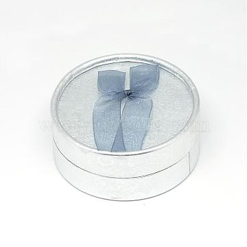 Silver Flat Round Paper Jewelry Set Box