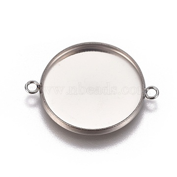 304 Stainless Steel Cabochon Connector Settings, Plain Edge Bezel Cups, Flat Round, Stainless Steel Color, Tray: 20mm; 27.5x21.8x2mm, Hole: 1.8mm(X-STAS-G127-14-20mm-P)