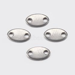 Onglets de chaîne en 304 acier inoxydable, connecteurs d'extension de chaîne, ovale, couleur inoxydable, 3.5x6x0.5mm, Trou: 0.4mm(STAS-I097-036P)