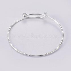 регулируемый латунный расширяемый браслет, серебро, 2-1 / 2 (6.5 см), 1.5 mm(MAK-F021-01S)