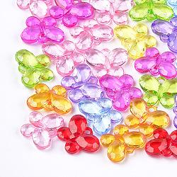 Pendentifs en acrylique transparent , facette, papillon, couleur mixte, 21x27x6.5mm, Trou: 3mm(X-TACR-T005-08)