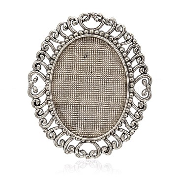 Oval Tibetan Style Alloy Cabochon Settings, Antique Silver, Tray: 28x37mm; 56x47x2mm(PALLOY-J589-55AS)