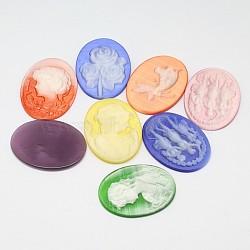 Смешанная камея, cmешанный цвет, 30x40x2~5 mm(CE-A001-03)