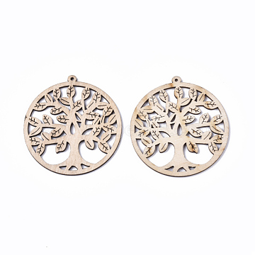 Undyed Natural Wooden Big Pendant, for Religion, Laser Cut Shapes, Flat Round with Tree of Life, Antique White, 74.5x69.5x2.5mm, Hole: 2mm(X-WOOD-T028-05)