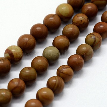 Natural Wood Lace Stone Beads Strands, Round, 8mm, Hole: 1mm, about 46pcs/strand,  14.76 inches(37.5cm)(X-G-I199-17-8mm)