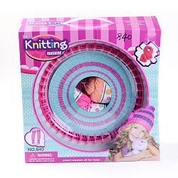 Bricolage tricotin métier à tisser ensembles: tricotin métier, aiguilles en plastique, crochet aiguilles de crochets et de fils, y compris l'enseignement, rose foncé, 32x32x12.5 cm(DIY-R038-03-B)