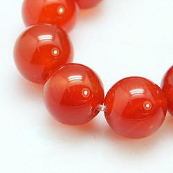 Chapelets de perles en cornaline naturelle, Grade a, teint, rond, rouge, 8mm, Trou: 1mm(X-G-C076-8mm-2A)