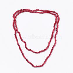 Colliers à deux niveaux avec perles de corail de bambou de mer (imitation de corail), colliers double couche, rouge, 46.8'' (119 cm)(NJEW-S414-30)