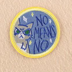 fer à repasser informatisé / coudre des patchs, accessoires de costumes, appliques, plat rond avec le chat, mot non signifie non, cornflowerblue, 7.3x7.1 cm(DIY-F030-15F)