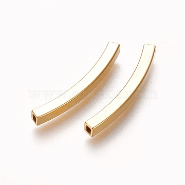 304 Stainless Steel Tube Beads, Square Hole, Golden, 30x3x3mm, Hole: 2x2mm(X-STAS-L226-057E-G)
