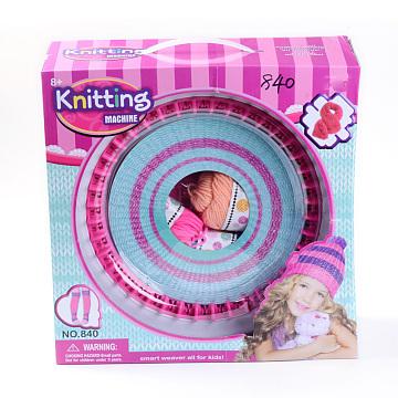 DIY Spool Knitting Loom Sets: Spool Knitting Loom, Plastic Needles, Crochet Hook Needles and Yarns, including Instruction, DeepPink, 32x32x12.5cm(DIY-R038-03-B)