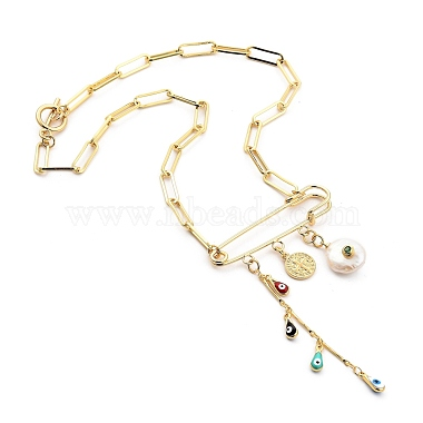 Evil Eye Brass Enamel Pendant Necklaces(NJEW-JN03053-01)-2