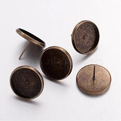 Laiton supports pour dormeuses, bronze antique, 12x16mm, Plateau: 14 mm(X-IFIN-Q004-AB)