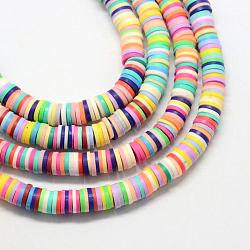 main perles en pate polymère, disque / rond plat, perles heishi, couleur mélangée, 4x1 mm, trou: 1 mm; environ 380~400 perle / brin, 17.7(X-CLAY-R067-4.0mm-M1)