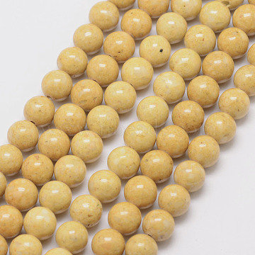 10mm Goldenrod Round Fossil Beads
