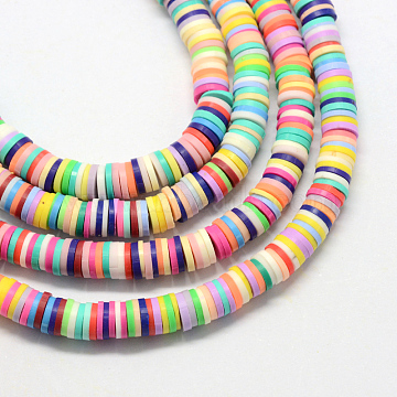 Handmade Polymer Clay Beads, Disc/Flat Round, Heishi Beads, Mixed Color, 4x1mm, Hole: 1mm, about 380~400pcs/strand, 17.7 inches(X-CLAY-R067-4.0mm-M1)