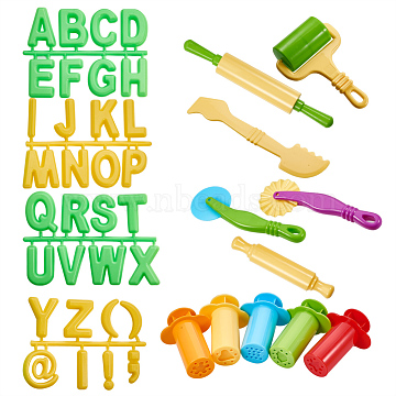 PandaHall Elite DIY Children Toys Sets, Clay Mold Tool Kits, Plasticine Educational Funny Toy, Mixed Color, 78~202x22~84mm; 11pcs/set(DIY-PH0019-45)