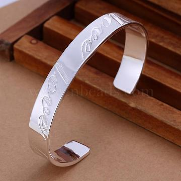 Trendy Love Brass Cuff Bangles For Men, Silver Color Plated, 65mm(BJEW-BB12225)