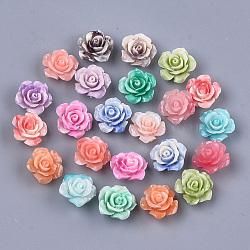 perles de corail synthétiques, teints, fleur, couleur mélangée, 14.5~15x8~8.5x8~8.5 mm, trou: 1.2 mm(X-CORA-S027-36)