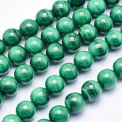 """Chapelets de perles en malachite naturelle, rond, 8mm, trou: 1mm; environ 49 pcs/chapelet, 15.5"""" (39.5 cm)(G-O166-07A-8mm)"""