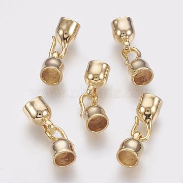 Brass Hook Clasps, Nickel Free, Real 18K Gold Plated, 25x8mm; Inner Diameter: 5.5~6mm(X-KK-Q735-215G)