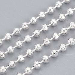 chaînes à billes en laiton soudé, avec bobine, facettes, plaqué argent, 3.2 mm(X-CHC-S008-004A-S)