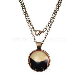 """Colliers avec pendentif plat rond avec motif de chat en verre, avec des chaînes d'alliage, bronze antique, 18""""(X-NJEW-N0051-014B-01)"""
