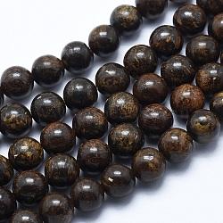 """Bronzite naturel brins de perles, rond, 8mm, trou: 1.2mm; environ 48 pcs/chapelet, 14.7"""" (37.5 cm)(G-P370-05-8mm)"""