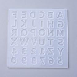 moules en silicone, moules de résine époxyde, pour la résine UV, fabrication de bijoux de bricolage, alphabet, effacer, 135x135x5.5 mm(X-DIY-O005-01)