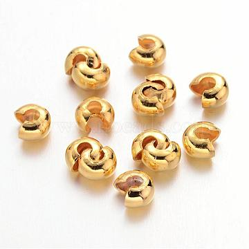 Iron Crimp Beads Covers, Cadmium Free & Nickel Free & Lead Free, Golden, 4mm In Diameter; Hole: 1.5~1.8mm(IFIN-H029-NFG-NF)