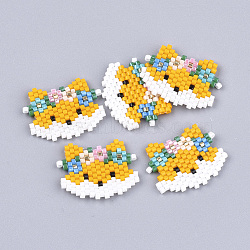 Handmade Japanese Seed Beads, Loom Pattern, Fox, Orange, 18~19x22.5~23x2mm(X-SEED-T002-01)