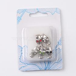 Crâne alliage strass ton de platine européennes grosses perles de trou pour Halloween, couleur mixte, 16x9.4x8.2mm, Trou: 4mm(CPDL-M014-14)