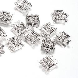 Fermoirs de boîte en laiton, rectangle avec fleur, platine, 12x11x4mm, Trou: 1mm(X-KK-R037-42P)