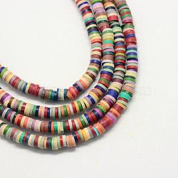 main perles en pate polymère, disque / rond plat, perles heishi, couleur mélangée, 5x1 mm, trou: 2 mm; environ 380~400 perle / brin, 17.7(X-CLAY-R067-5.0mm-M2)