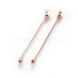 Écrous d'oreille en argent sterling s925, avec des chaînes de serpent, pour la moitié de perles percées, sculpté 925, or rose, 52~55mm, trou: 0.7 mm; plateau: 3 mm; broche: 0.6 mm(STER-F046-01RG)