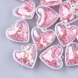 Пластиковые подвески, с сухими цветами и стразами, сердце, красно-фиолетовые, 29x30x18 мм, отверстие : 1.8 мм(KY-T004-09C)