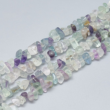 Natural Fluorite Beads Strands, Chip, 3~11x3~5x1~4mm, Hole: 1mm, about 380~400pcs/strand, 33 inches(X-G-S315-35)