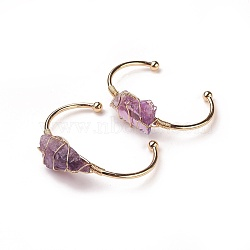 Long-Lasting Plated Brass Cuff Bangles, with Natural Amethyst, Nuggets, Golden, 1-3/8 inchesx2-3/8 inches(3.8x6cm); 2.8mm(X-BJEW-F394-A03)