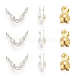 Brass Bead Tips, Calotte Ends, Clamshell Knot Cover, Mixed Color, 7x4mm, Hole: 1mm(X-KK-N0070-03)