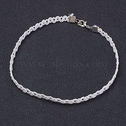 """Tour de cou gothique en dentelle, avec accessoire en fer, platine, blanc, 12"""" (30.5 cm)(NJEW-E085-17A)"""