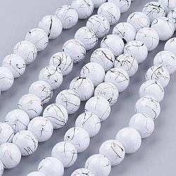 Волочильные стеклянные бусины ниток, круглые, белые, 8 мм, Отверстие : 1.3~1.6 мм; около 100 шт / нитка, 31.4