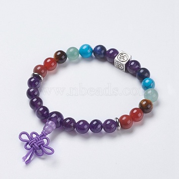Chakra Jewelry, Natural Amethyst and Mixed Stone Buddha Stretch Bracelets, with Brass Findings, Cube with Om Symbol, 2-1/4 inches(58mm), Pendant: 40x10mm(BJEW-K200-01-08AS)