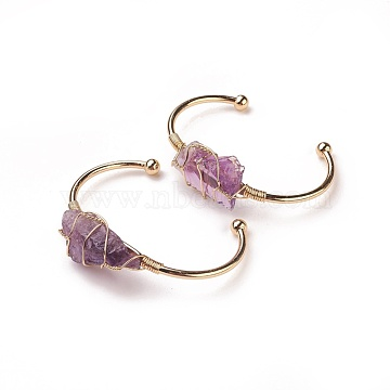 Long-Lasting Plated Brass Cuff Bangles, with Natural Amethyst, Nuggets, Golden, 1-3/8 inchesx2-3/8 inches(3.8x6cm), 2.8mm(X-BJEW-F394-A03)