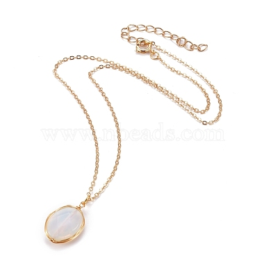Faceted Opalite Wire Wrapped Pendant Necklaces(NJEW-JN03080-01)-2