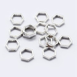 925 monture de perles en argent sterling, hexagone, argenterie, 7.5x8.5x2mm, trou: 0.8 mm; intérieure: 6x7 mm(STER-F036-12S-8.5x7.5)