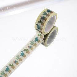 Rubans adhésifs décoratifs pour bricolage, cactus, jaune, 15mm, 5 m / rouleau (5.46 heures / rouleau)(DIY-F016-P-07)